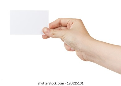 female teen hand holding blank card, isolated on white