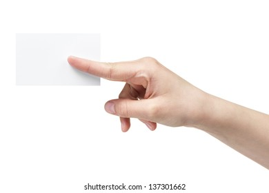 female teen hand holding blank paper card with two fingers, isolated on white