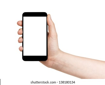 female teen hand holding generic touch device, isolated in white with white screen