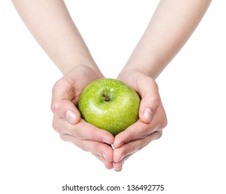 female teen hand holdings green apple, isolated on white