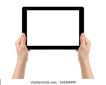 female teen hands holding generic tablet pc with blank screen, isolated