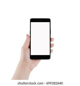 female teen left hand holding smartphone isolated on white