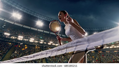 Female tennis player celebrates a win on the professional stadium full of people. She is wearing unbranded sport clothes. The stadium is made in 3D.