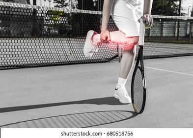 Female tennis player (no face) injured her leg (ankle, knee ) during match/ practice