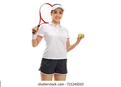 Female tennis player with a racket and a tennis ball isolated on white background