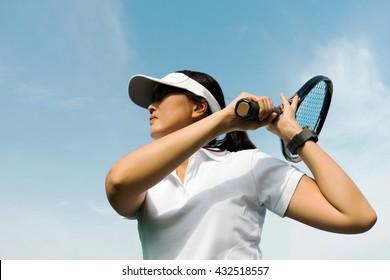 female tennis player swing racket tennis