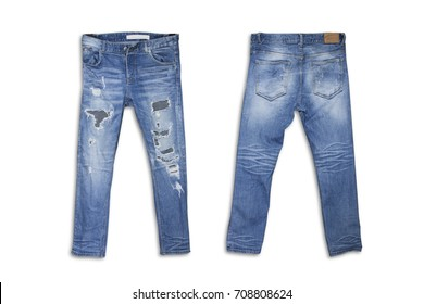 Female torn jeans isolated on white background. Old Female Torn Denim, Ripped blue jeans isolated on white with clipping path