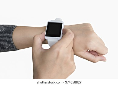 Female touching her smartwatch