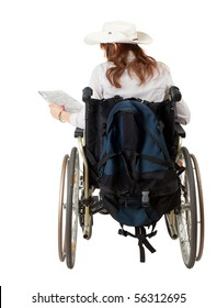female tourist with map on the wheelchair