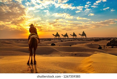 Female tourist on camel safari at the Thar desert Jaisalmer Rajasthan at sunset with view of camel caravan.