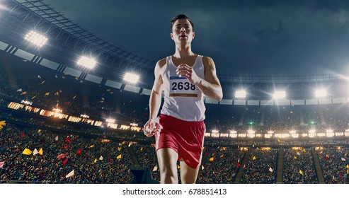 Female track and field runner on the professional sports arena with bleaches full of people. Athlete wears unbranded clothes. Arena and people on it are made in 3D and animated.