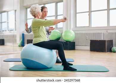 Female trainer assisting senior woman lifting weights in gym. Senior woman sitting on pilates ball doing weight exercise being assisted by personal trainer at health club.