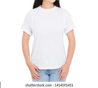 female t-shirt closeup - girl in stylish tshirt isolated