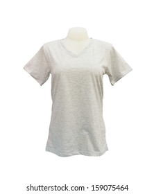 female tshirt template on the mannequin on white background (with clipping path)