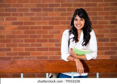 female university student inside campus building
