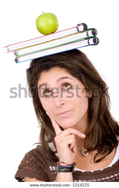 female university student looking very pensive with books and an apple on her head