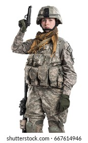 Female in US Army soldier with rifle. Shot in studio. Isolated with clipping path on white background