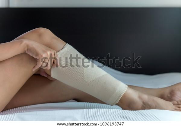 Female Using Put On Elastic Bandage Stock Photo Edit Now 1096193747