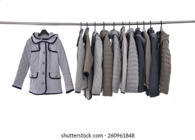 Female Variety of coat clothes hanging on the rack