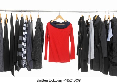 Female Variety of colorful clothes hanging
