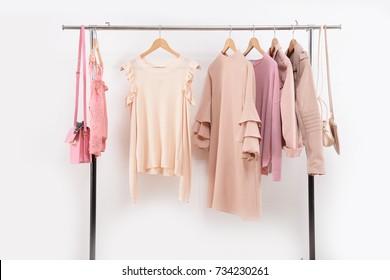 female vest,clothes shirt and sundress clothing,jacket, bag on hanger