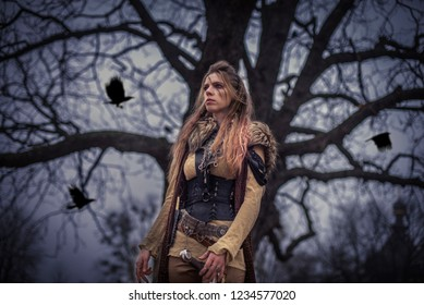 Female viking in mystic forest