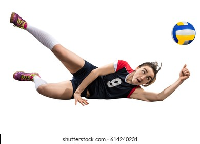 Female volleyball player reaching the ball on the ground isolated