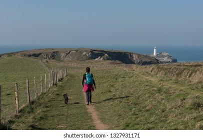 Female Walker and Her Black Schnoodle Dog Walking Towards Godrevy Lighthouse and Point  on the South West Coast Path between Portreath and Hayle in Rural Cornwall, England, UK