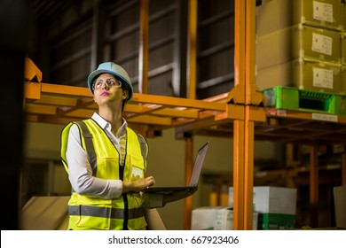 female warehouse worker checking delivering boxes. distribution center. logistics concept.