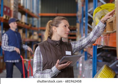 female warehouse worker checking stock of cables