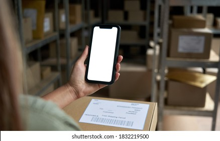 Female warehouse worker seller, small stock business owner holding phone mock up screen ad scan retail package parcel bar code on commercial shipping box delivery order on smartphone using mobile app.