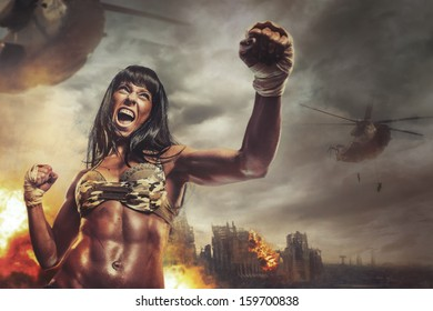 Female warrior attacking a hand in battle