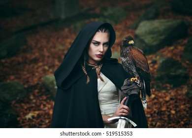 Female warrior with sword and hawk. Cinematic colors