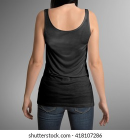 Female wearing black tank top shirt, back view, isolated on gray background, with clipping path to change background