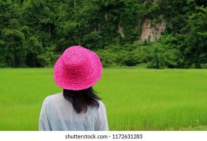 Female Wearing Vivid Pink Straw Hat Looking at the Vibrant Green Rice Field, Rainy Season in Phitsanulok Province of Thailand