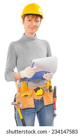 female wearing working clothes and construction tools holding clipboard with white sheet and looking at camera isolated on white  background