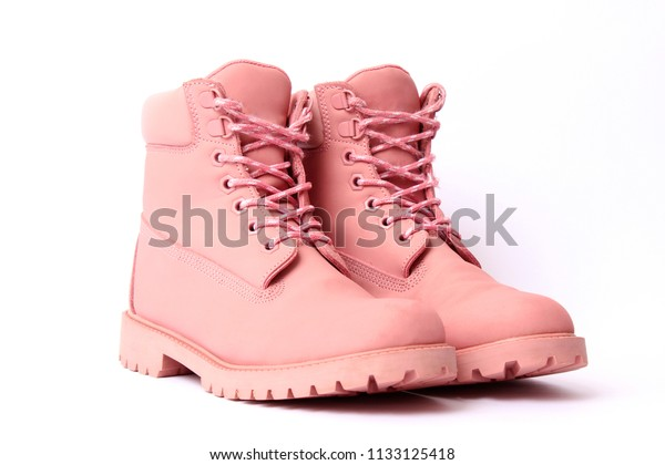 Female Winter Boots Pink Color Isolated