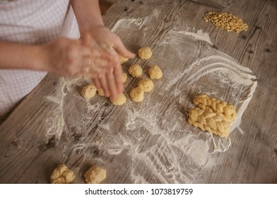 female woman artisan baker at home baking a sweet dough cookies, series from the whole process available