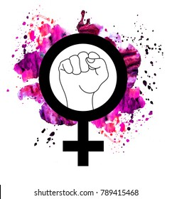 Female Woman Feminism Protest Hand Icon isolated.Symbol and raised fist feminism watercolor pink.Yes, Women Can. Girl Power.Feminism concept.Harassment.Woman rights, protest.Patch graphic design