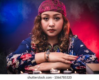 Female woman seer teller fortune  psychic fortuneteller predicting fate for sign