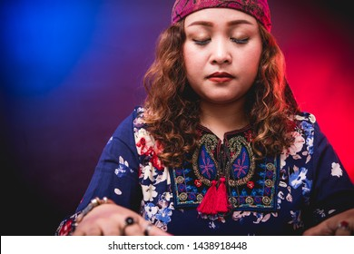 Female woman seer teller psychic fortuneteller predicting fate for sign