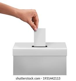 female or women Voter Holds Envelope In her  Hand Above Vote Ballot for casting vote white background