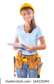 Female Worker With Clipboard On White Background