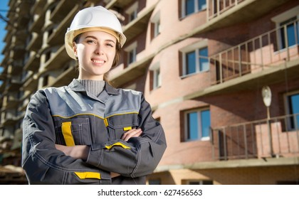Female worker at a construction