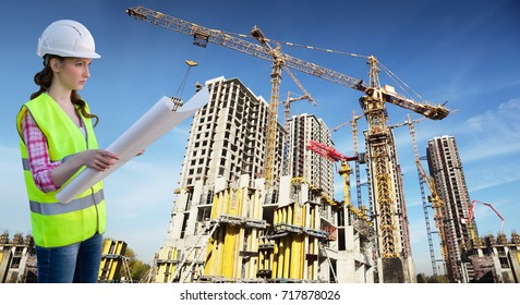 female worker examines drawing on background with many tall buildings under construction and cranes under blue sky, collage