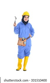 Female Worker with a tool belt. Isolated over white background.