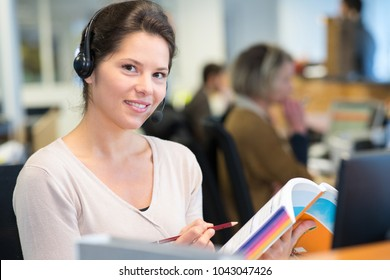 female worker using handset system