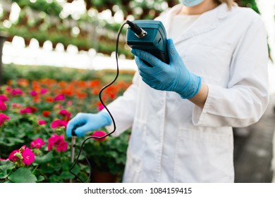 Female worker working at plant nursery and holding soil ph meter.