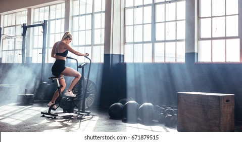 Female working out on fitness at the gym. Woman training on exercising bike at gym.