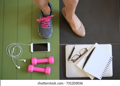 female workout and work at home to balance life . active fitness to play on healthy and strong body with laptop , mat,weight ,mobile phone and sneakers.